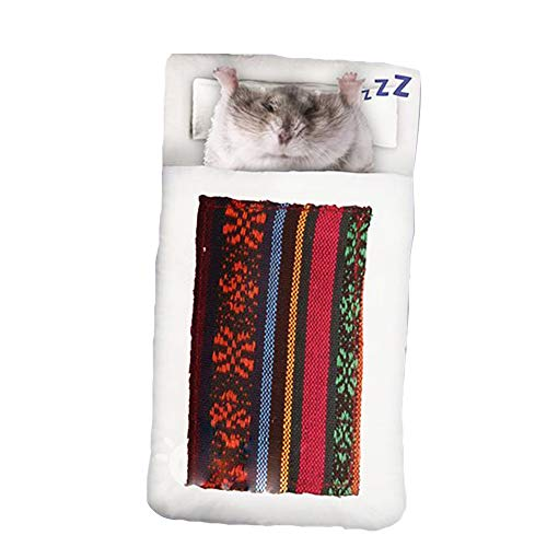 FLAdorepet Sleeping Quilt for Rabbit Guinea Pig Bed House Winter Warm Hamster Bedding Bed Cage Small Animal Accessories (S(W6.8