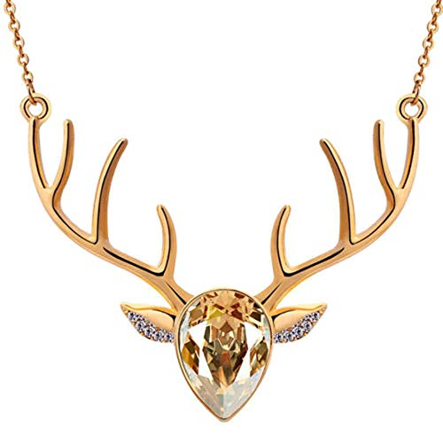 - Crystal Necklace Celendi Exquisite Delicate Christmas Antler Deer Head Pendant Chain (Gold)
