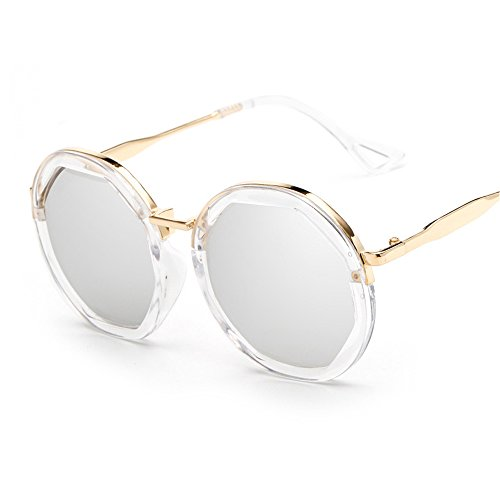 BVAGSS Vintage Round Mirror Lens Plastic Frame Women's Sunglasses WS015(Transparent Frame, White - White Ladies Sunglasses