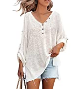 HAPCOPE Women's Batwing Sleeves V-Neck Button Knit Jumper Oversized Pullover Sweaters Tunic Henle...