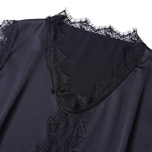 V Mangas Mujeres Chaleco Remiendo Black Causal Encaje Sólido Cuello Sin Camisetas qR57nwI