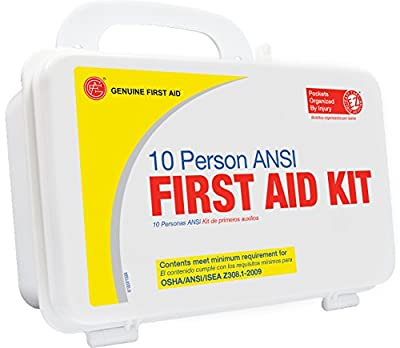 Genuine First Aid 9999-2125 Bulk First Aid Kit, 10 Person ANSI/OSHA, Plastic Case, Basic by Genuine First Aid