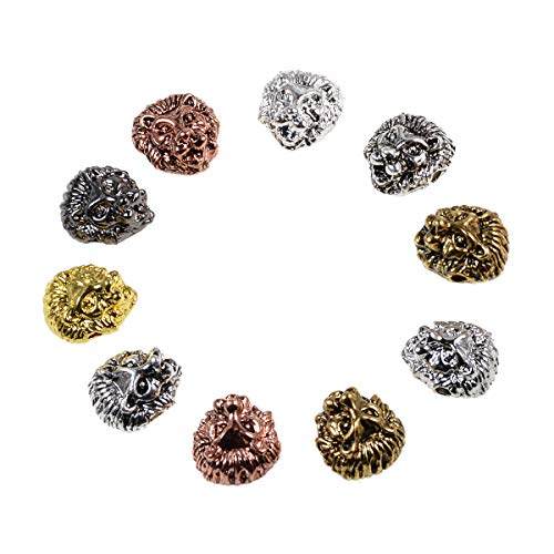 AD Beads Solid 10pcs Metal Lion, Sparta, Dragon, Wolf Bracelet Necklace Connector Charm Beads Silver Gold (12x12mm Lion Head, Mixed Color)