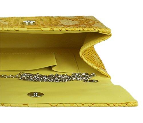 Amarillo Femenino Plegada Bolsos Embrague Bolsa Serpiente De Piel RxWwqCAp