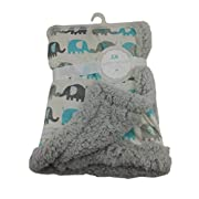 Petite L' amour Grey Teal Elephant Traffic Soft Plush Baby Blanket