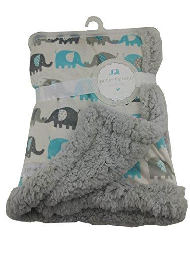 Petite L' amour Grey Teal Elephant Traffic Soft Plush Baby Blanket Baby Soft Plush