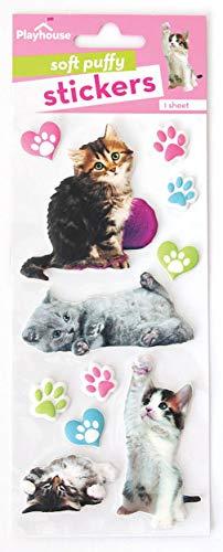 Playhouse Pretty Kitties Soft Puffy 11-Piece Sticker Sheet
