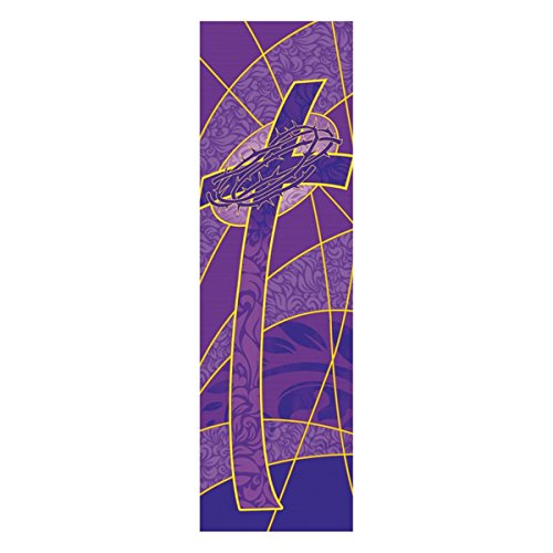 Symbols of the Liturgy Series Church Banner for Lent and Easter - Cross with Crown of Thorns