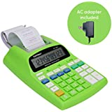 Catiga 12-Digit Desktop Printing Calculator with Tax Functions, Two Color,2.03 Lines/sec, with AC Adapter, CP-1800 for Home/Office, Comes with AC Guaranteed (Green, with AC)