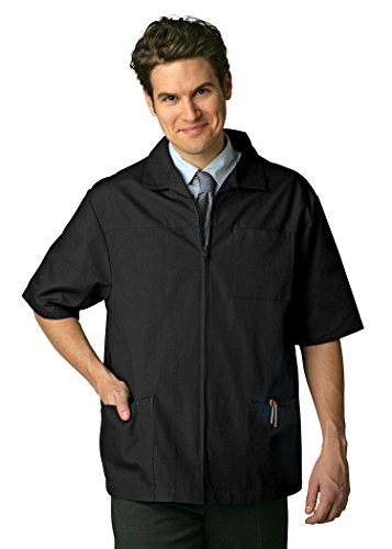 Adar Universal Men's Zippered Short Sleeve Jacket (Available in 7 colors) - 607 - Black - 4X (Drivers Uniform For Men)
