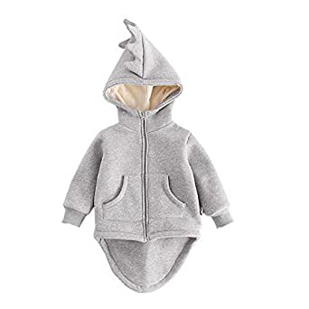 Fairy Baby Toddler Boy Girl Cosplay Outwear Dinosaur Fleece Outfit Jacket Hoodies Coat Size 2T (Gray)