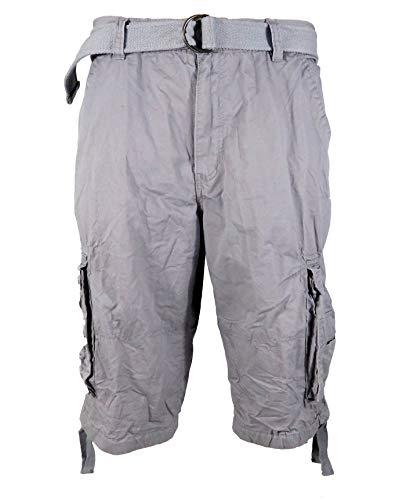 - Tank Men's Light Twill Cargo Shorts, Grey, 34