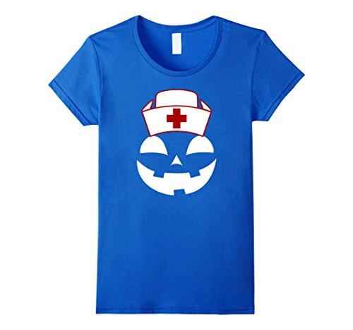 [Womens Official Halloween Nurse Scary Pumpkin Jack O Lantern Tee Medium Royal Blue] (Psych Nurse Costume)