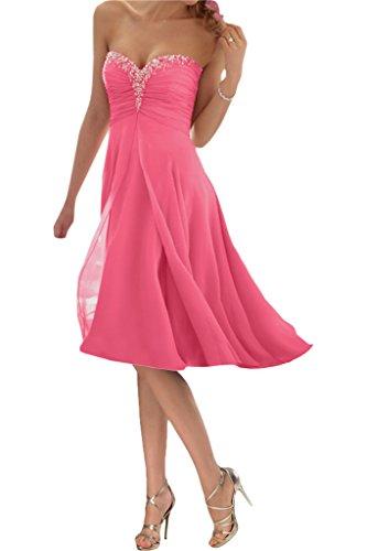 Promgirl House Damen Glamour Traegerlos A-Linie Chiffon Abendkleider Cocktail Ballkleider Kurz-38 PfirsichRosa Kurz