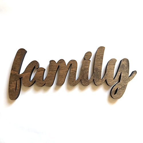 Wood Family Cutout Sign Made of Birch Plywood Stained Dark Walnut. Entryway Table Decor