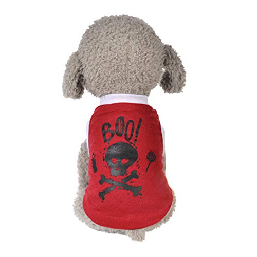 Sunnyys Cool Halloween Cute Pet Vest Clothing Small Puppy Costume Red