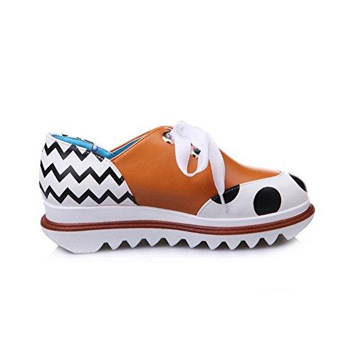 shoes Lace toe Fabric Two Round Balamasa Womens Walking up toned Yellow qtwc6z4