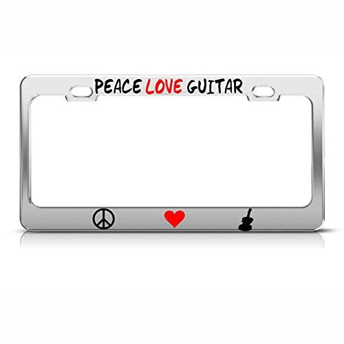 PEACE LOVE GUITAR License Plate Frame Metal Chrome MUSIC LOVER Tag Border