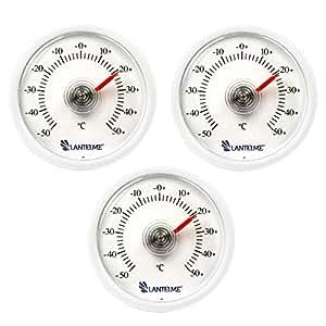 Lantelme 6300Termómetro universal 3pieza set–con bimetal Muelle Element y analógico indicador de temperatura plástico color blanco