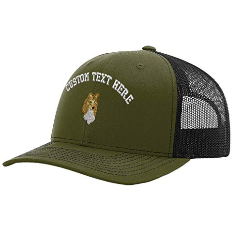 (Custom Richardson Trucker Hat Shetland Sheepdog Head Embroidery Design Polyester Mesh Baseball Cap Snaps Loden/Black Personalized Text Here)