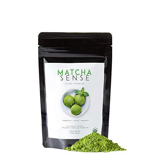 Matcha Sense - Premium Culinary Grade Matcha Green Tea Powder for Lattes, Smoothies, Baking, Cooking, Authentic Japanese Origin, USDA and JAS Certified Organic - 30g Starter Size (Kiss Me Powder)