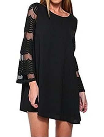 METERDE Women's Flared Sleeves Cutout Mini Loose Party Shift Dress Black