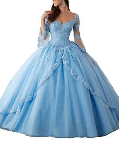 New Gown Quinceanera (Eldecey Women's V-Neck Lace Applique Sweet Sixteen Long Sleeves Pageant Backless Ball Gown Prom Quinceanera Dress Sky Blue US24W)