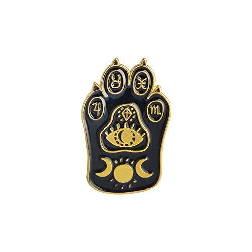 Childrens Enamel Star (SimpleLif Cartoon Enamel Brooch Pins, Gothic Magic Cat Paw Brooch Enamel Pin Witch Footprints Moon Star Brooch Jewelry for Unisex Child Women's Clothing Decorate)