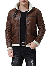 Men's Faux Leather Jacket Brown Motorcycle Bomber Shearling Suede Stand Collar