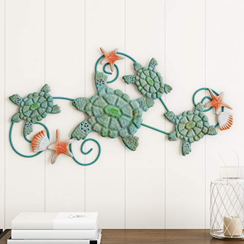 Lavish Home Turtles Wall Art with Shells and Starfish Nautical 3D Metal Hanging Decor-Vintage Coastal Under Water Sea Life Ocean Home Artwork