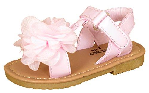 � Metallic Flower Light Pink Sandal, Large 9/10 (Pink Girls Sandals)