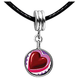 Chicforest Silver Plated Valentine's Day Chocolate Heart Photo Light Rose Crystal October Birthstone Flower dangle Charm Beads Bracelets Fits Pandora Charm