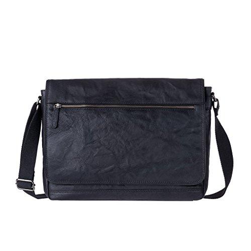 DUDU Bolso Hombre bandolera Verdadera piel arrugada Vintage Messenger bag Negro