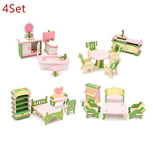 Miniature Doll Furniture - URToys 4Set Mini Cute Wooden Delicate Dollhouse Furniture Toys Miniature For Kids Children Funny Pretend Play Toys Role Playing Toy With Box