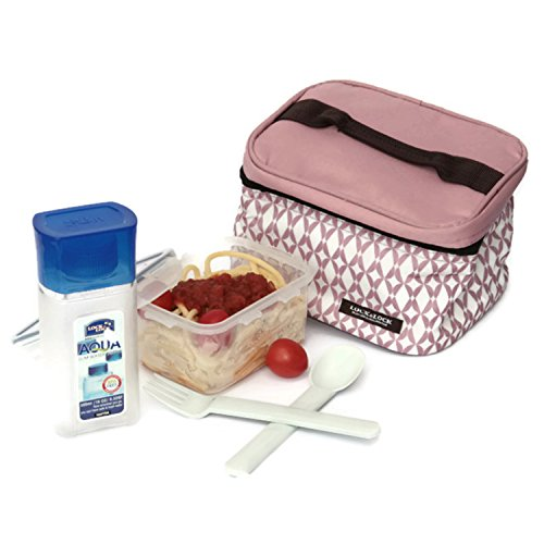 Lock And Lock Lunch Box Set with Pink Bag and Water Bottle - SET OF 3 (Bottle Holder Bag Insert compare prices)