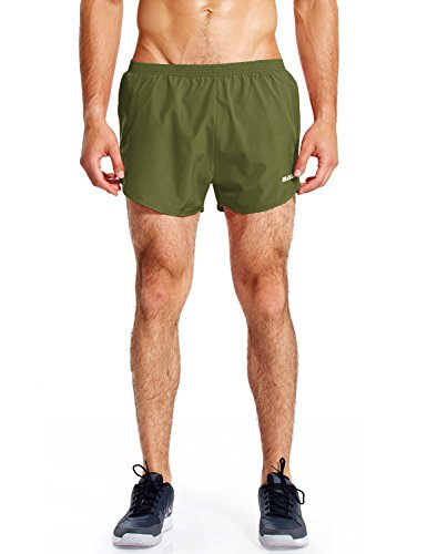 Baleaf Men's Quick-Dry Lightweight Pace Running Shorts Army Green Size XXL
