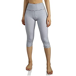 ODODOS Women's High-Rise Pattern Leggings 6/8 Printed Yoga Capris with Inner Pockets, SketchLine, Small