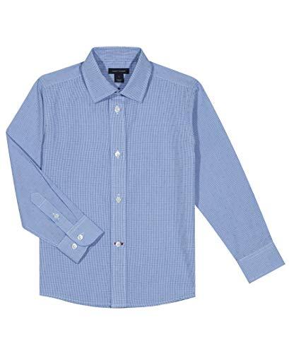 Tommy Hilfiger Little Boys Long Sleeve Cross Gingham Dress Shirt, Medium Blue, 7