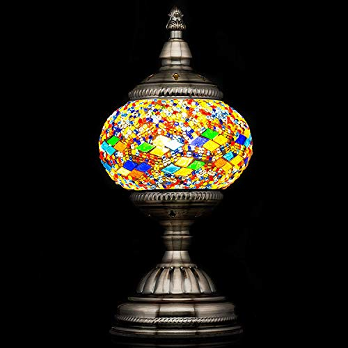 Mosaic Lamp-Handmade Turkish Mosaic Table Lamp with Mosaic Lantern,Bronze Base,Unique Table Lamp for Room - Lamps Hurricane Antique
