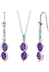 Amethyst Pendant Earrings Necklace Sterling Silver Rhodium Nickel Finish 2.25 Carats
