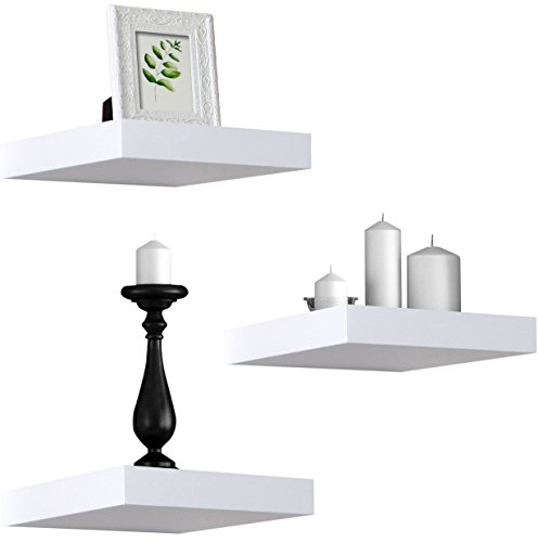 Sorbus Floating Shelves - Hanging Wall Shelves Decoration - Perfect Trophy Display, Photo Frames (White) (Square Mounted Corner Wall)