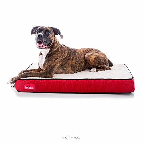 Brindle Waterproof Designer Memory Foam Pet Bed - Red Sherpa (Red Covers Bed)