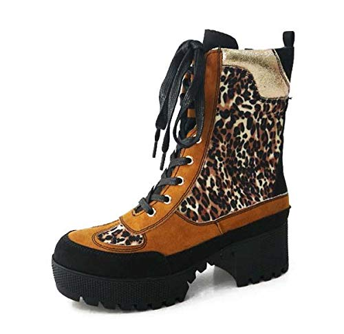 Bambo Powerful 06S Womens Chunky Heel Platform Lug Sole Military Combat Boot Leopard 10 ()