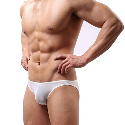 hibote Biancheria intima sexy Mens, vita bassa Mens Breve Boxer, morbido pugili della Mesh slip per uomo, confortevole intima seta del ghiaccio Slip bianco XL