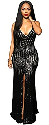 Kearia Women Short Sleeve Deep V-Neck Sequin Split Bodycon Cocktail Party Dress