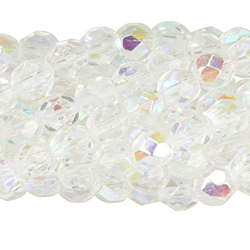 Starman 6mm Crystal AB Czech Fire-Polished Round Faceted Glass Beads, 12 Strands (300pc)