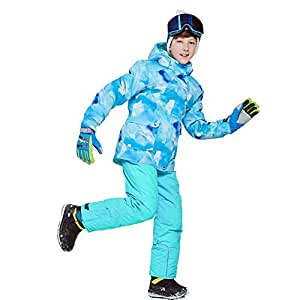 Ski Suit for Boys' Girls' Baby, Winter Kids Ski Snow Jacket with Bib Pants, Outdoor Waterproof Windproof Snowboard Ski Sets Clothes, 2 Pieces110-164CM,Turquoise,146/152CM