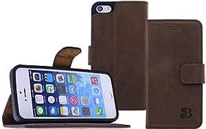 Burkley BOOK-G6-IP5 - Funda de piel estilo libro para iPhone 5 (función de soporte y compartimento para tarjetas de crédito), color marrón