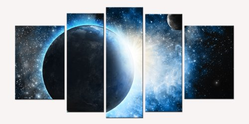 Startonight Canvas Wall Art Cosmos, Space Art USA Design for Home Decor, Dual View Surprise Artwork Modern Framed Ready to Hang Wall Art Set of 5 Total 35.43 X 70.87 Inch 100% Original Art (Halloween Decor Hobby Lobby)