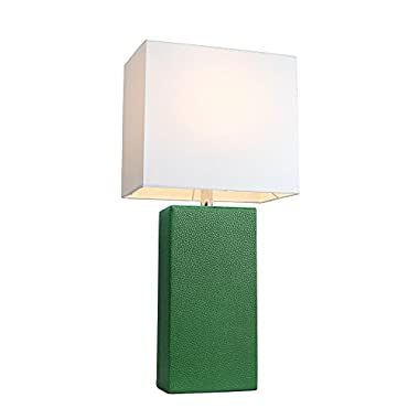 Elegant Designs LT1025-GRN Modern Genuine Leather Table Lamp, Green